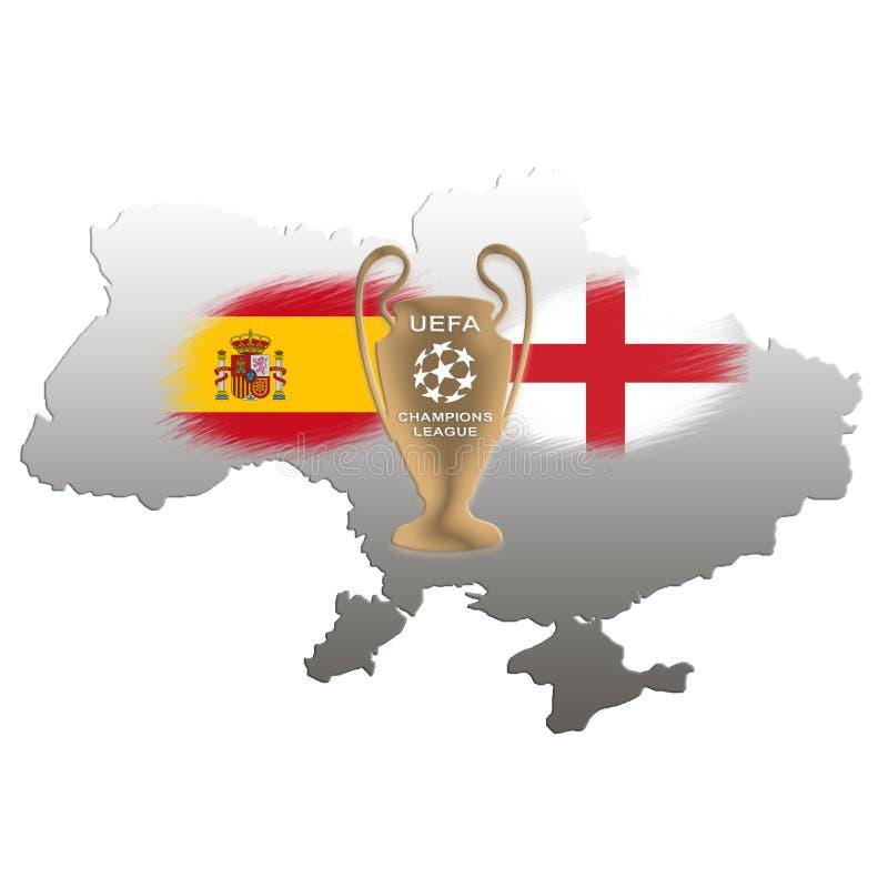 Champions League finał Futbolowa filiżanka Kijów 2018 obraz royalty free