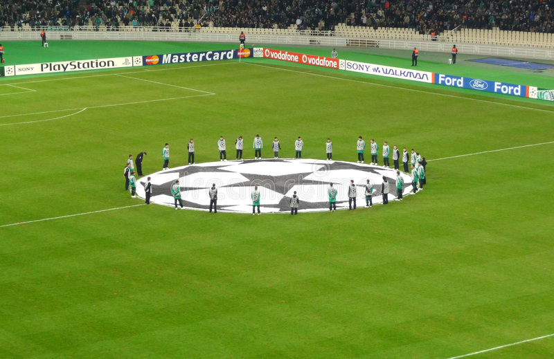 Champions League game. Between Panathinaikos-Greece and Anorthosis - Cyprus at Olympic stadium in Athens Greece stock photography