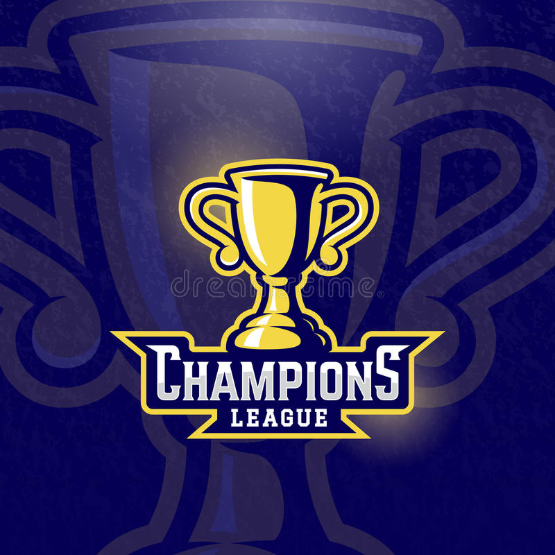 Champions League Prize Cup. Vector Sport Trophy Sign, Symbol or Logo Template. Textured Background royalty free illustration