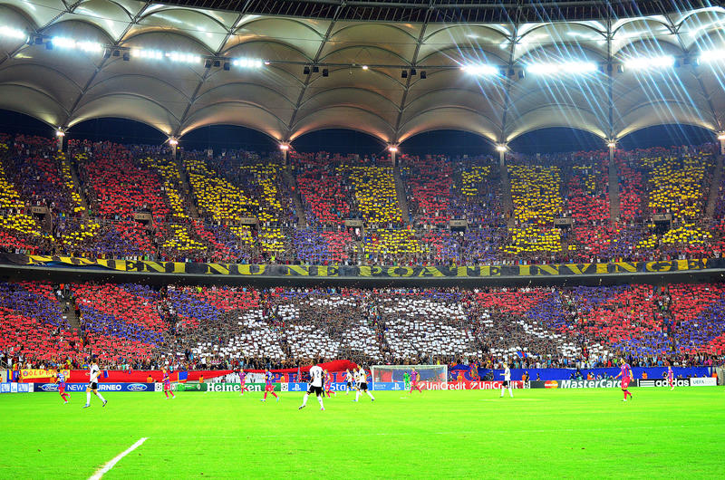 CHAMPIONS LEAGUE: STEAUA BUCHAREST-LEGIA WARSAW. Steaua's fans choreo dispayed before the UEFA Champions League play offs game between Steaua Bucharest (Romania royalty free stock photography