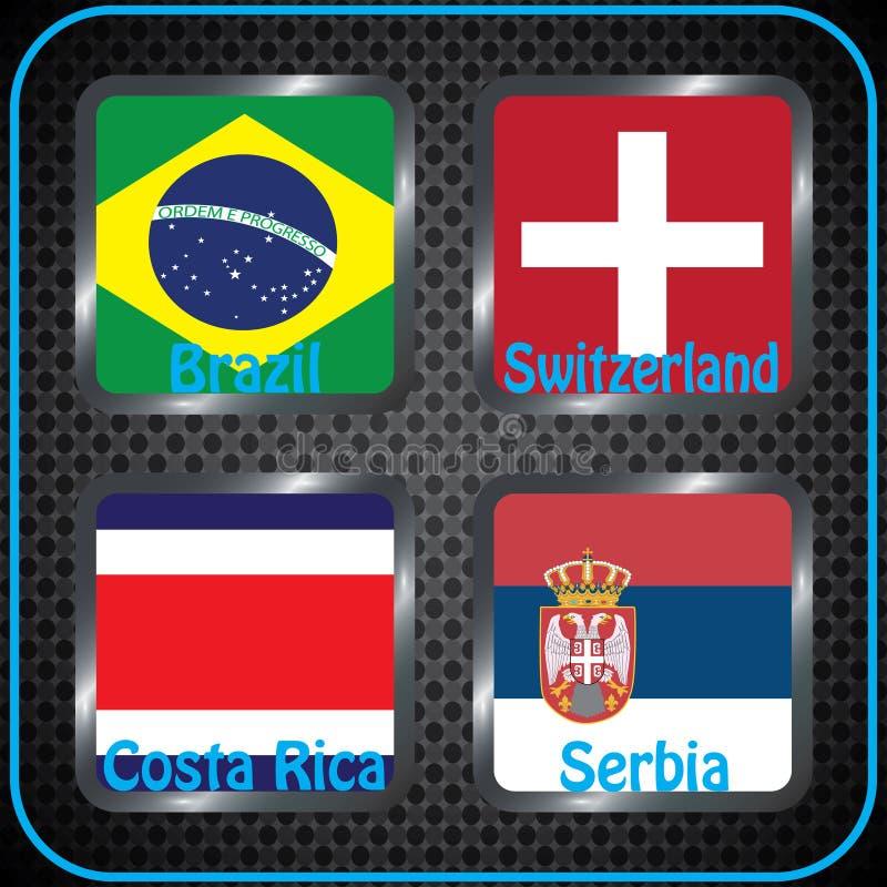 championship Futebol Bandeiras gráficas Agrupe bolas de G ilustração stock