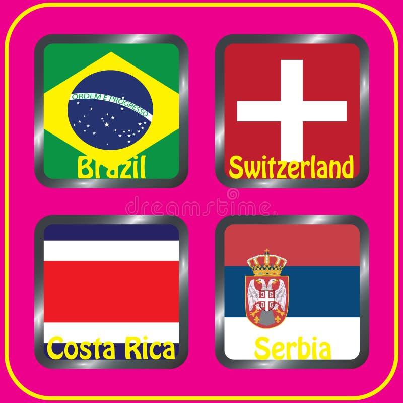 championship Futebol Bandeiras gráficas Agrupe bolas de G ilustração do vetor