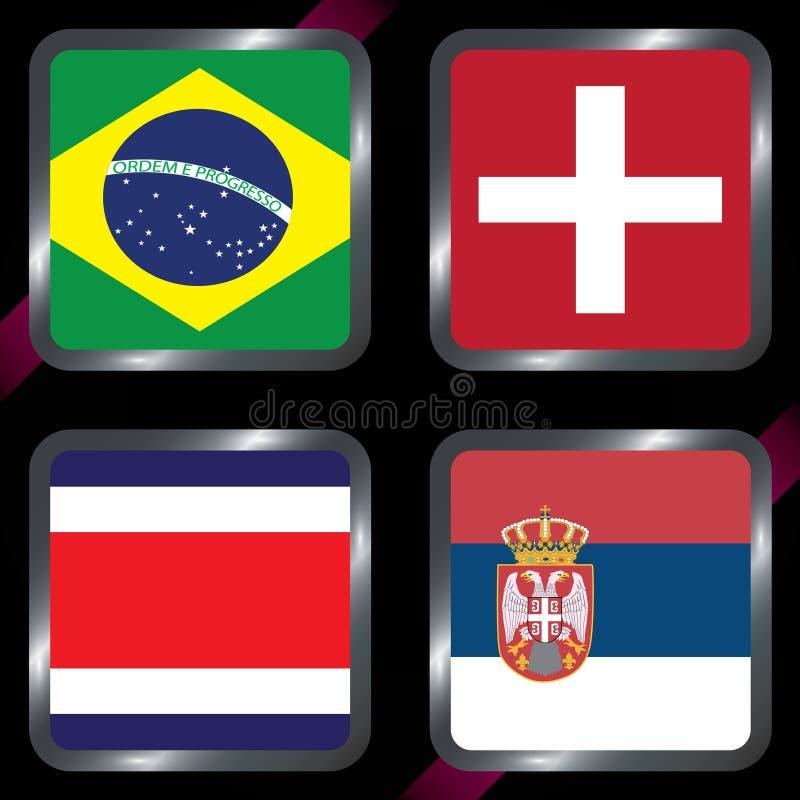 championship Futebol Bandeiras gráficas Agrupe bolas de G ilustração royalty free