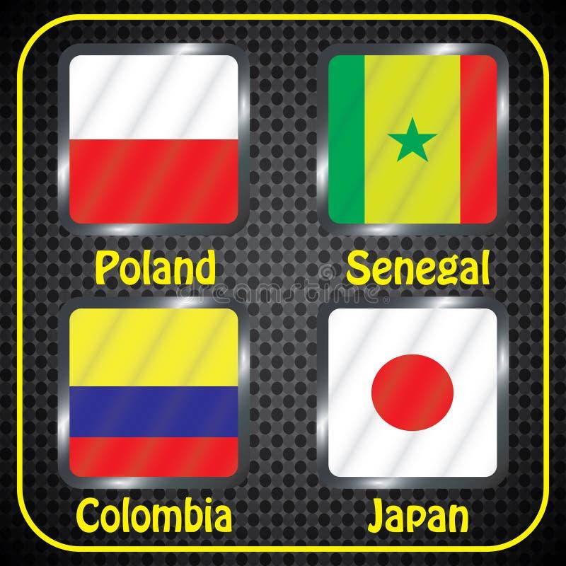 championship Futebol Bandeiras gráficas Agrupe bolas de H ilustração royalty free