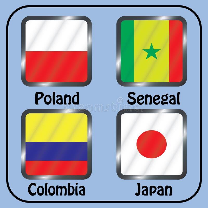 championship Futebol Bandeiras gráficas Agrupe bolas de H ilustração stock