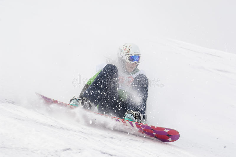 THE CHAMPIONSHIP OF RUSSIA ON A SNOWBOARD royalty free stock photography