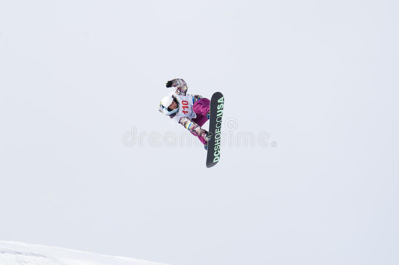 THE CHAMPIONSHIP OF RUSSIA ON A SNOWBOARD stock photography