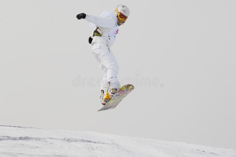 THE CHAMPIONSHIP OF RUSSIA ON A SNOWBOARD stock image