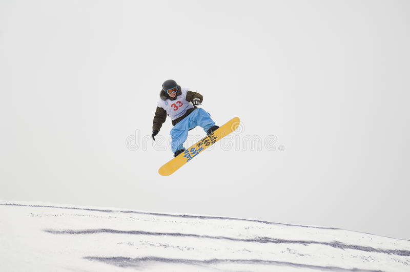 THE CHAMPIONSHIP OF RUSSIA ON A SNOWBOARD stock images
