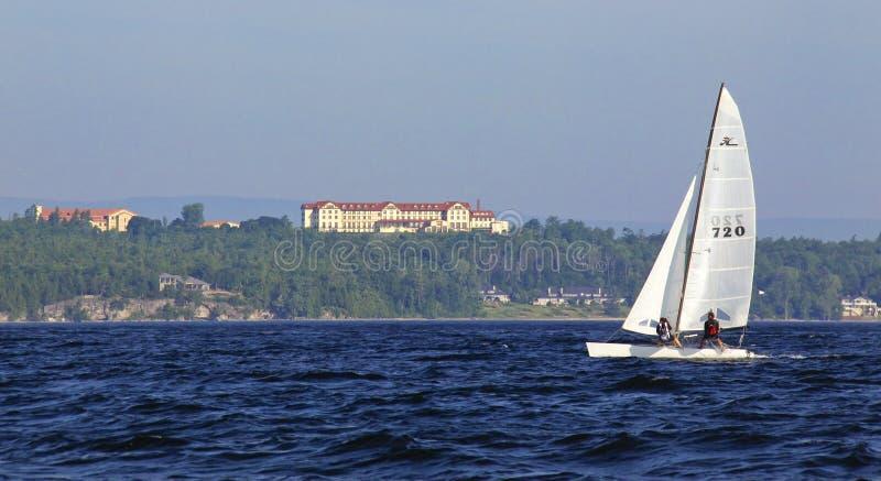 champlain航行的学院湖 库存图片