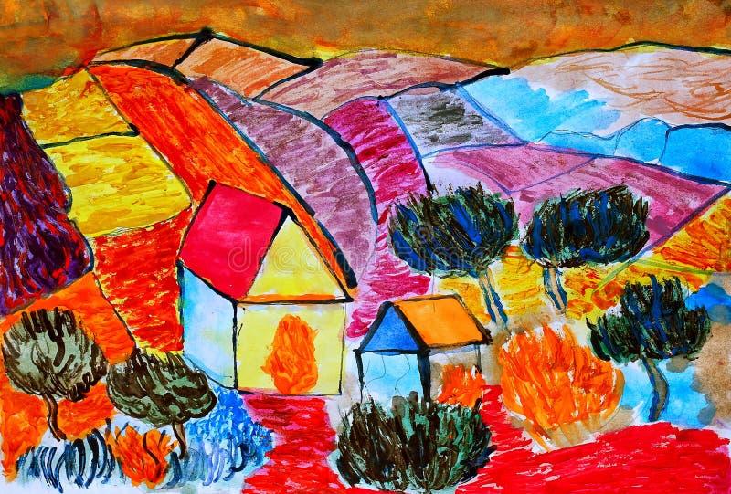 Champs de campagne de paysage de maison de ferme derrière le rouge illustration de vecteur