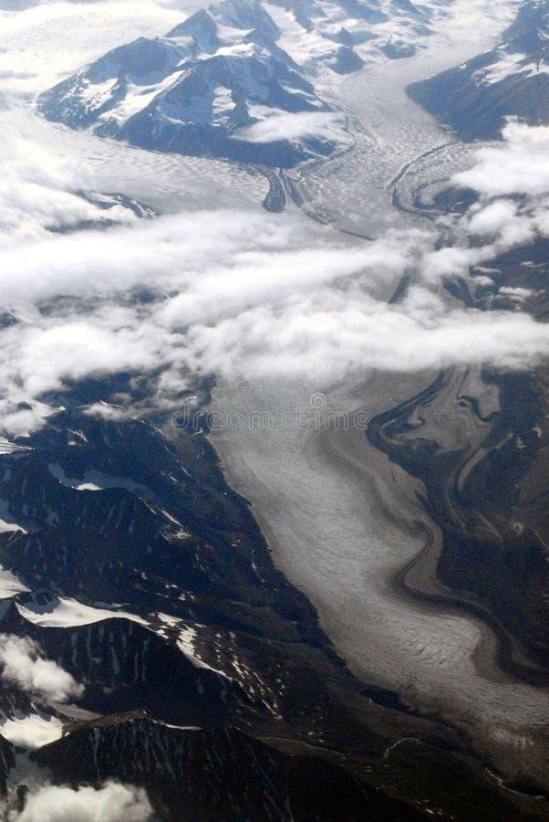 Champs de glace de fonte aériens près de Fairbanks Alaska image libre de droits