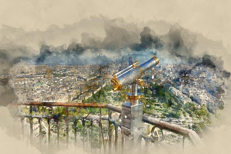 Champs de Mars jardina na torre Eiffel Paris - vista aérea ilustração royalty free