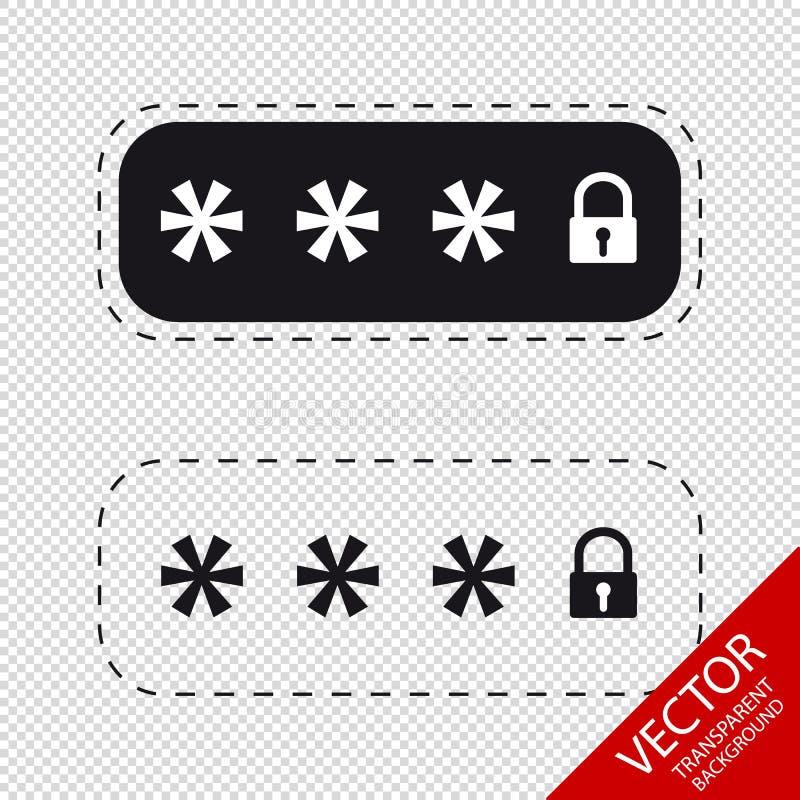 Champs de mot de passe verrouillés - icônes de vecteur - d'isolement sur le fond transparent illustration de vecteur