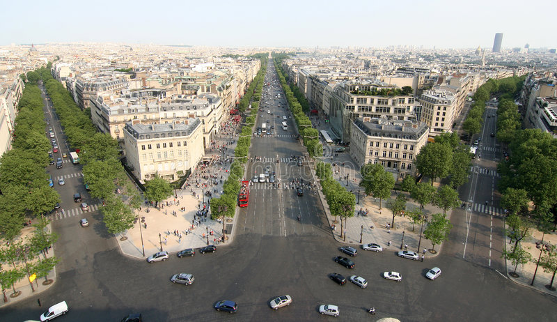 Champs Elysee. The Champs Elysee as seen from the roof of the Arc de Triomphe royalty free stock image
