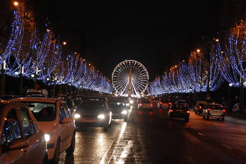 Champs-Elysee by night. Avenues des Champs-Elysee by night, Paris royalty free stock images