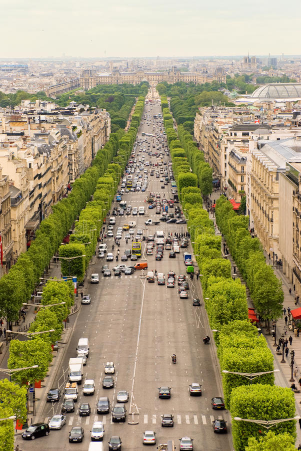 Champs Elysee. The Champs Elysee and the Louvre seen from the top of the Arc de Triomphe stock image