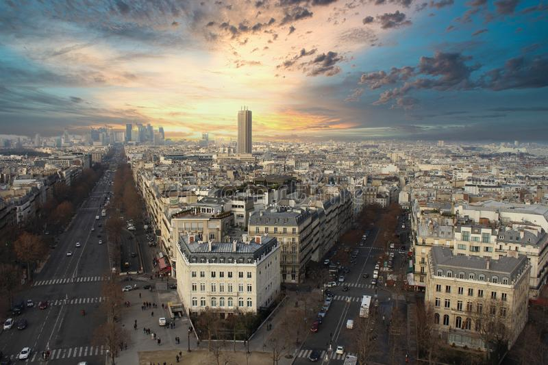 Champs elysee paris. Overview over the champs elysee in paris stock photos