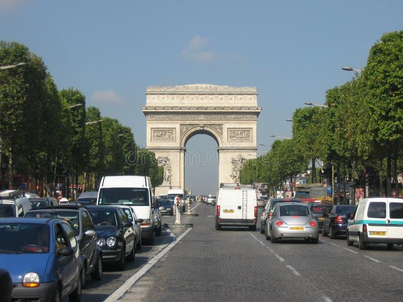 Champs Elysees and Arc de Triomphe, Paris stock photos