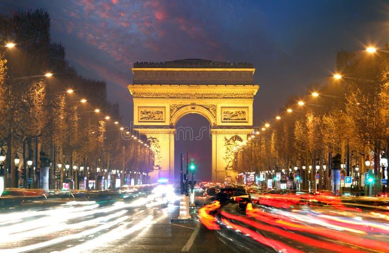 Champs elysees and Arc de Triumph, Paris.  stock image