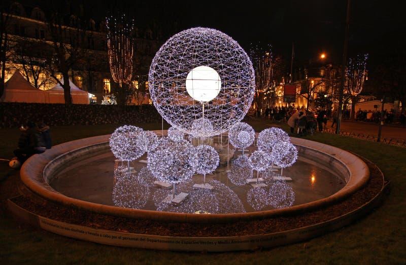 Champs-Elysees auf Weihnachten paris stockfotografie