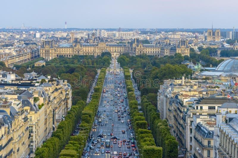Champs-Elysees e Concorde Place fotografia stock