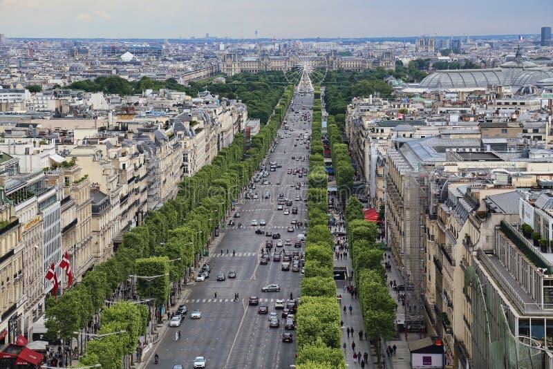 Champs-Elysees em Paris, França fotos de stock