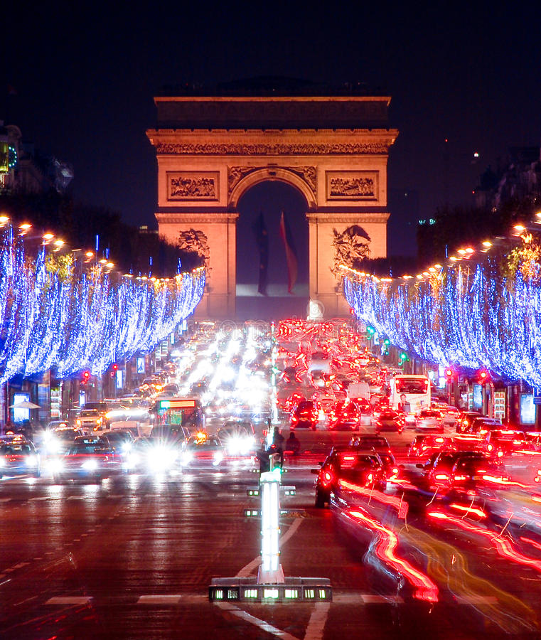 Champs-Elysees na noite imagens de stock royalty free