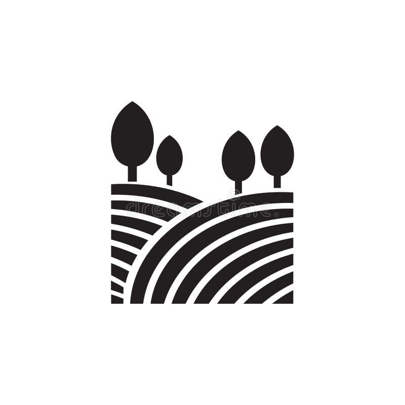 champs et icône d'arbres Élément d'illustration de paysage Icône de la meilleure qualité de conception graphique de qualité Signe illustration stock