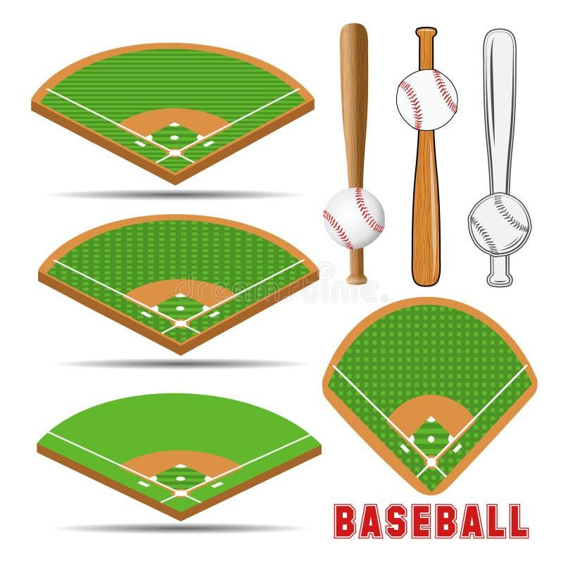 Champs isométriques de base-ball, boule en cuir et battes en bois illustration stock