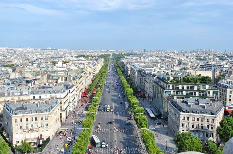 Champselysee bovenop Arc de Triomphe stock fotografie