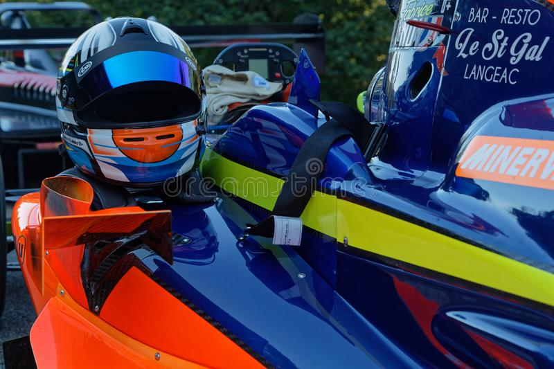 Helmet and equipement on a racing car in Chamrousse royalty free stock photo