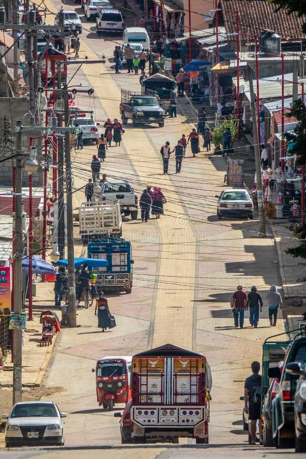 Chamula街道在危地马拉 库存图片