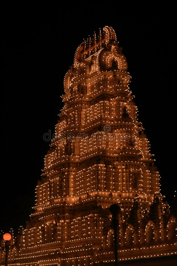 Chamundeshwari Temple At Night Royalty Free Stock Photos