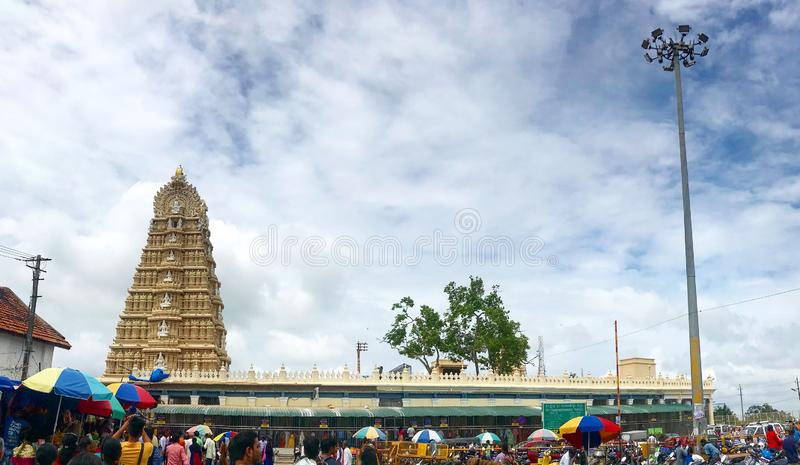 Chamundi Hill Temple of South Indian Goddess Chamundi at Mysore, Karnataka royalty free stock image
