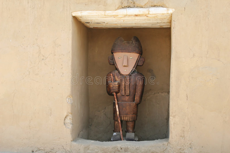 Chan Chan Statue. An ancient statue found at the ancient city of Chan Chan Peru stock photos