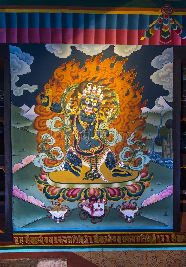 Chana Dorje väggmålning av Trashi Chhoe Dzong, Thimphu, Bhutan royaltyfri foto