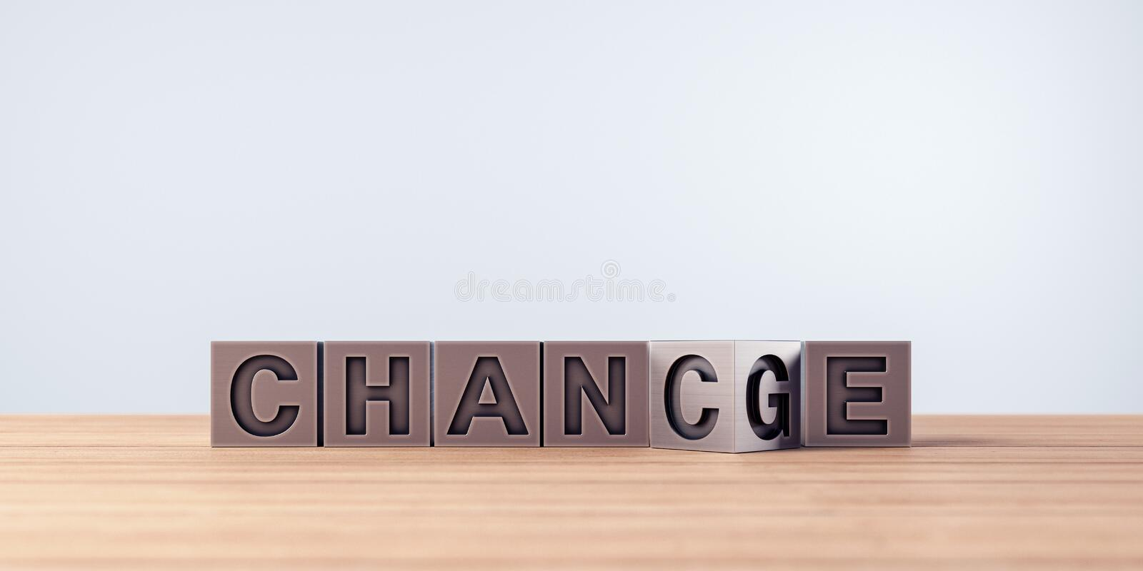Chance and change concept in written in metal letters. 3D Rendering royalty free illustration