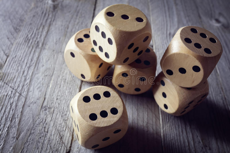 Chance and risk. Rolling the dice concept for business risk, chance, good luck or gambling stock image