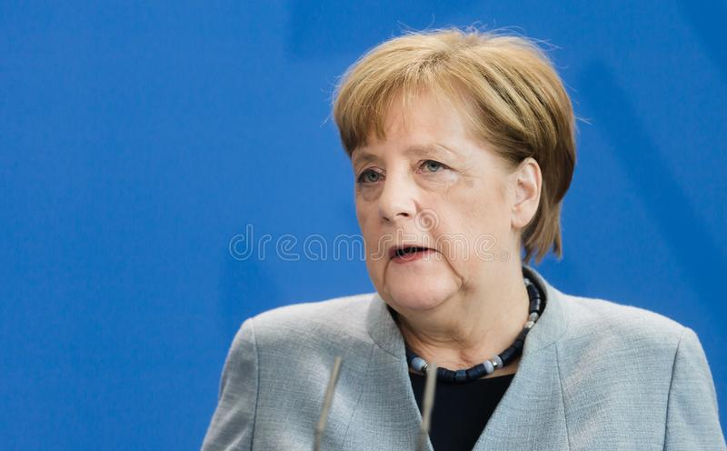 Chancellor of the Federal Republic of Germany Angela Merkel. BERLIN, GERMANY - Apr. 10, 2018: Chancellor of the Federal Republic of Germany Angela Merkel during royalty free stock image