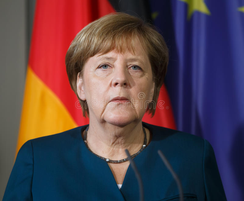 Chancellor of the Federal Republic of Germany Angela Merkel. GRANSEE, GERMANY - May 20, 2017: Chancellor of the Federal Republic of Germany Angela Merkel during royalty free stock images