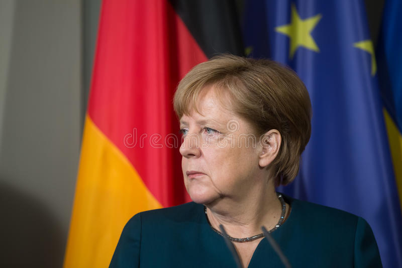 Chancellor of the Federal Republic of Germany Angela Merkel. GRANSEE, GERMANY - May 20, 2017: Chancellor of the Federal Republic of Germany Angela Merkel during stock photos