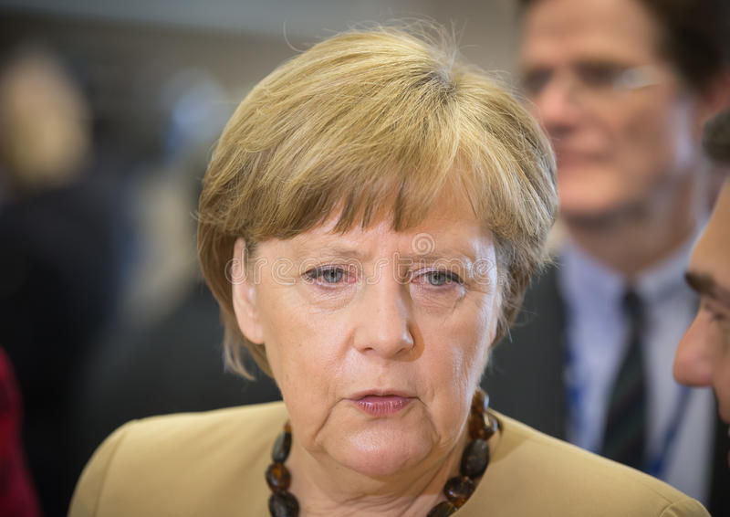 Chancellor of the Federal Republic of Germany Angela Merkel. RIGA, LATVIA - May 22, 2015: Eastern Partnership Sammit. Chancellor of the Federal Republic of royalty free stock image
