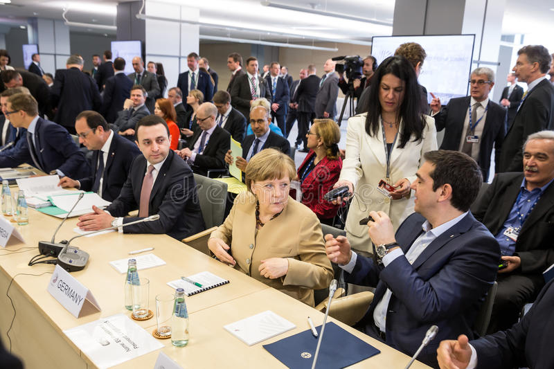 Chancellor of the Federal Republic of Germany Angela Merkel. RIGA, LATVIA - May 22, 2015: Eastern Partnership Sammit. Chancellor of the Federal Republic of stock image