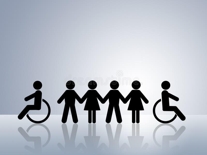 Chancengleichheit schielt Rollstuhl ab stock abbildung