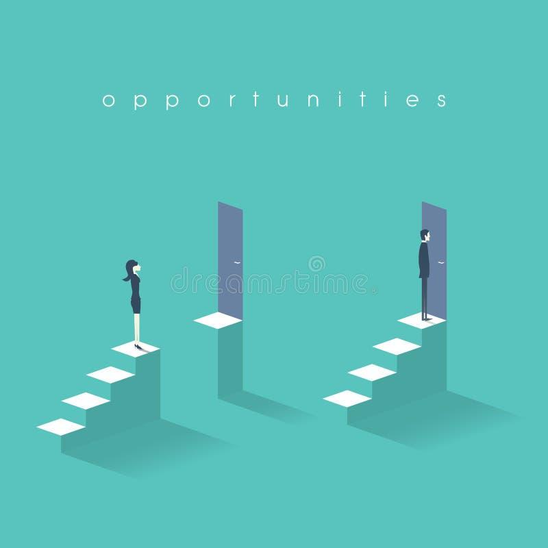 Chancengleichheitsgeschäftskonzept mit der Geschäftsfrau und Geschäftsmann, die vor Türen auf Spitzentreppe stehen stock abbildung