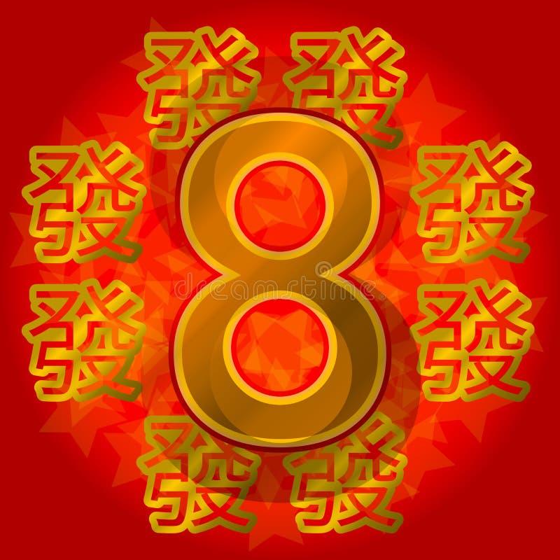 8 chanceux chinois symbole d'or sur un fond rouge Carte postale de bonne chance illustration de vecteur