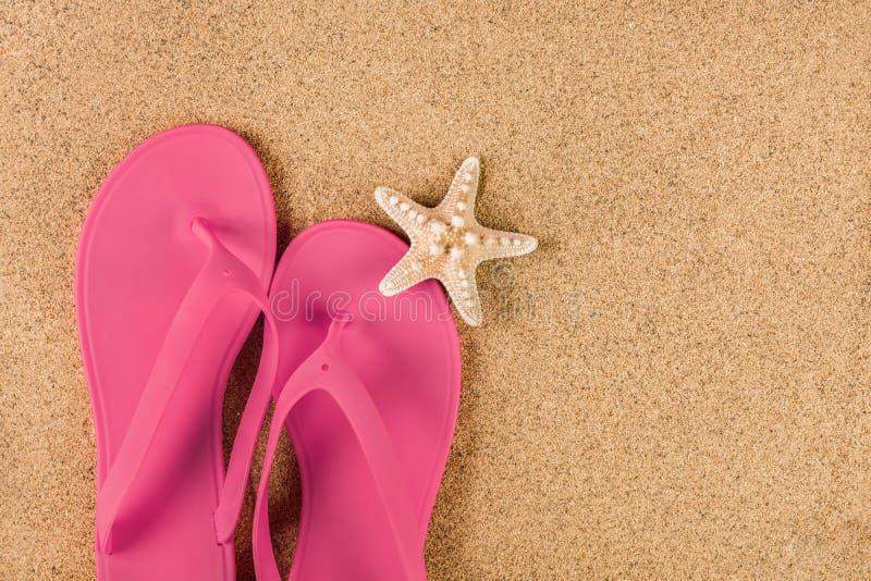 Chancleta rosada de la sandalia en la playa y estrellas de mar de la arena imágenes de archivo libres de regalías