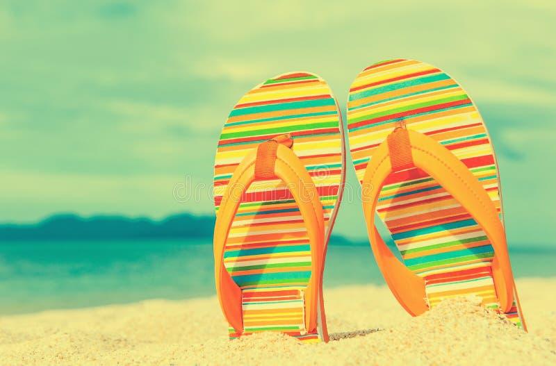 Chancletas coloridas en la playa arenosa fotos de archivo libres de regalías