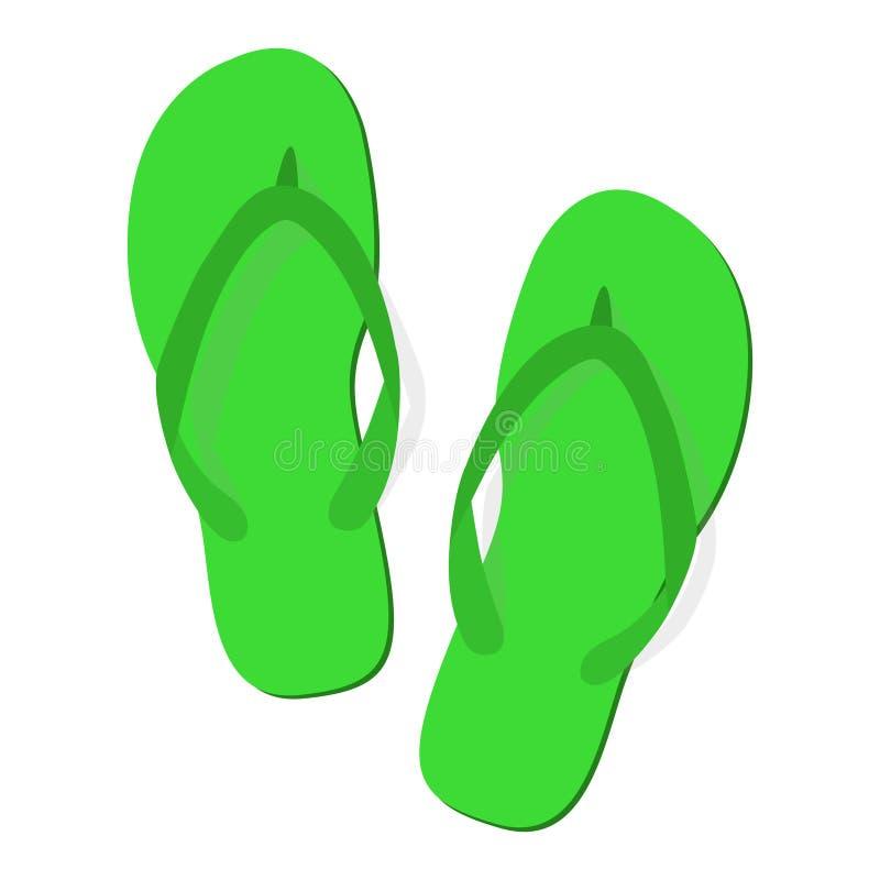 Chancletas verdes de los deslizadores del verano en el fondo blanco stock de ilustración